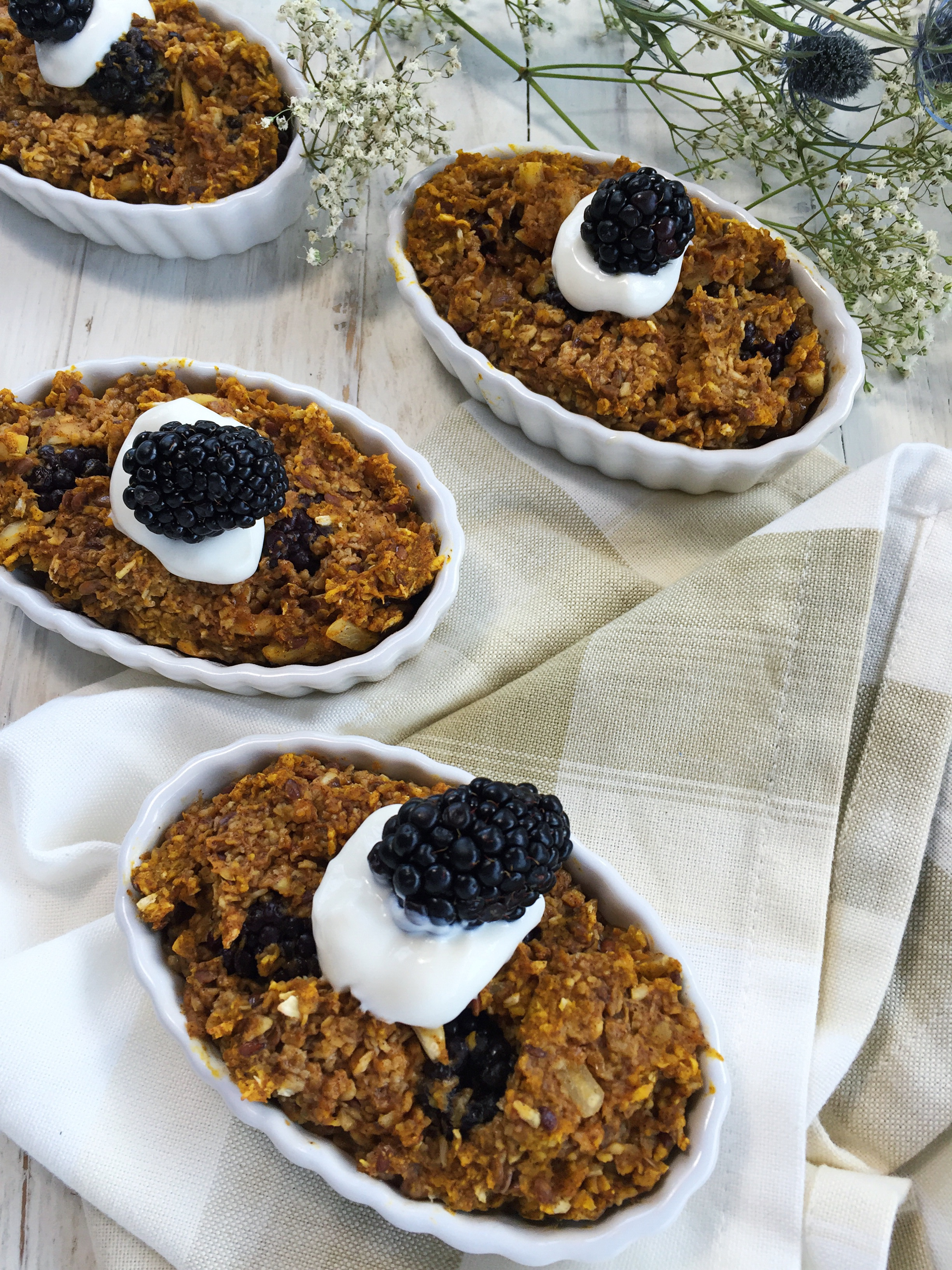 Blackberry pumpkin baked oatmeal