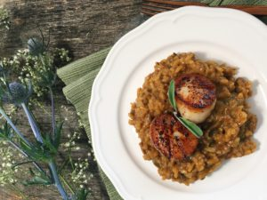 Pumpkin and Porcini Risotto with Scallops