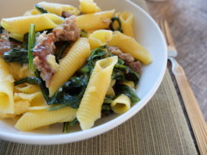 Garganelli with Spicy Sausage and Dandelion